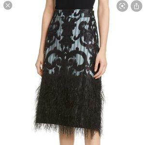 NWOT Ganni Feather Pencil Skirt